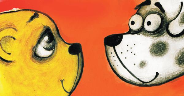 Rysunek przedstawiający misia i psa