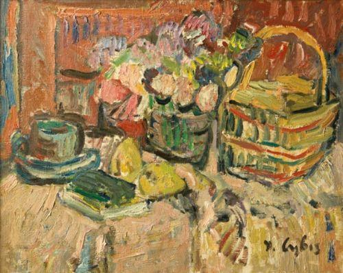 Jan Cybis Kwiaty i gruszki