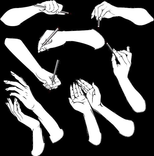 Rysunki przedstawiąjące dłonie
