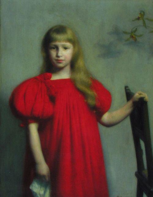 Obraz Józef PankiewiczPortret dziewczynki w czerwonej sukni