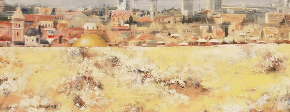 Pejzaż miasta wykonany w ciepłych, łagodnych kolorach
